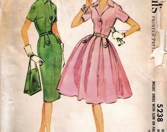 1950s McCall's 5238 Vintage Sewing Pattern Misses Full Skirt Dress, Slim Skirt Dress, Sheath, Shirtwaist Dress Size 14 Bust 34