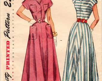 1940s Simplicity 2910 Vintage Sewing Pattern Misses Shirtwaist Dress, Tea Length Dress Size 12 Bust 30