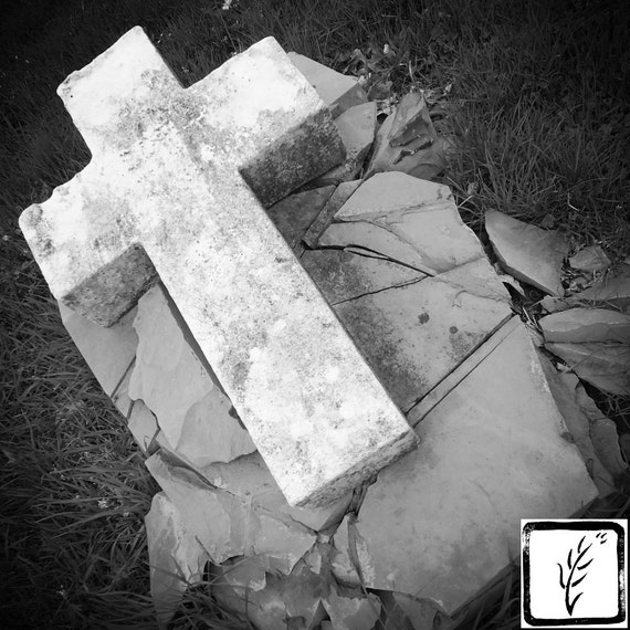 B&W Photograph, wall art, home decor, photo print, fine art, headstone, cemetery, cross, christian, memorial, grave, Indiana, haiku