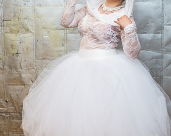 Handmade Tulle Wedding Dress Simply Beautiful - Tea Length Fairytale - Sexy Sheer Bridal Gown-Custom to your Size