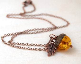 Amber and Copper Acorn Necklace | Cute Nature Acorn Charm Necklace | Lucite Amber Acorn Necklace | Woodland Acorn | Nature Jewelry