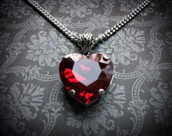 Dark Red Heart Necklace - Gothic Necklace - Crystal Heart Necklace - Gothic Wedding - Gothic Gift - Gothic Jewelry - Red Crystal