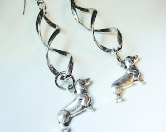two inch dangle earrings Dachshund, twisted top, stainless steel