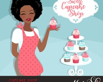 Cupcake Shop Owner Avatar. African American woman holding a cupcake, Sweet Cupcake shop frame. Character Graphic, BAKE SHOP, baking clipart