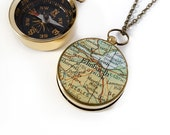Compass Necklace, Edinburgh Map, Large Compass, Brass, Working Compass, Antiqued Brass Chain, Vintage Map, Scotland, Europe, Travel, Wander