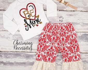 Baby Girl Valentines Day Outfit, Toddler Girl Clothes, Top and Ruffle Pants Set, Be Mine red gold black sparkle by Charming Necessities