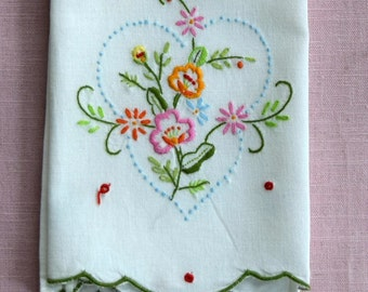 Spring Hand Towel with Colorful Embroidered Flowers Tea Towel Shabby Linens