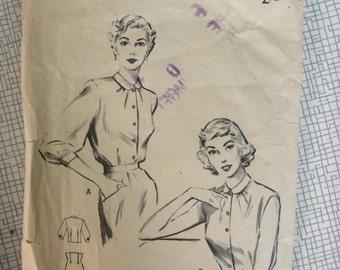 "1950s Blouse - 30"" Bust - Butterick 6045 - Vintage Sewing Pattern"
