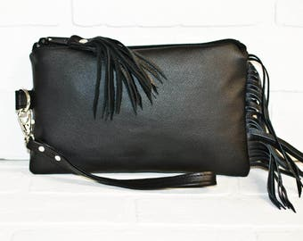repurposed, black leather clutch, wrist clutch, wristlet, phone wallet, fringe bag, make up bag, handmade, upcycled, repurposed, stacylynnc