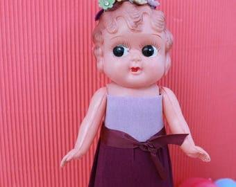 Vintage  Celluloid Easter Doll - Crepe Paper, Purple