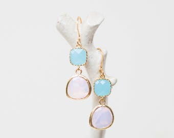 Matte Gold drop earrings, opal and ocean blue glass, beach-inspired, dangle, charm, jewelry, bridesmaid gift, Handmade in Santa Cruz
