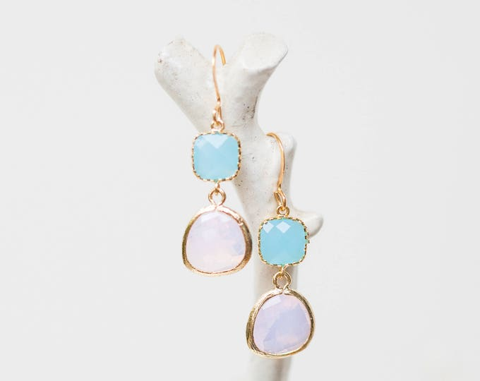 Matte gold opal and ocean blue glass dangle earrings
