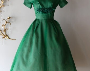 1950's Emerald Green Emma Domb Silk Organza Party Dress ~ Vintage 50s Emma Domb Dress With Full Skirt and Rosettes