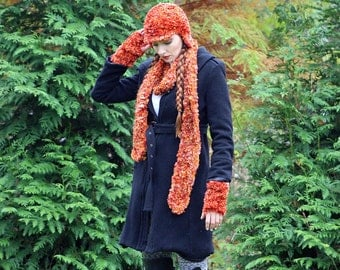 Fuzzy Soft Orange Hat, Fingerless Gloves and  Scarf  Set Long Soft Accesory  Gift for Girls, Teens or Women