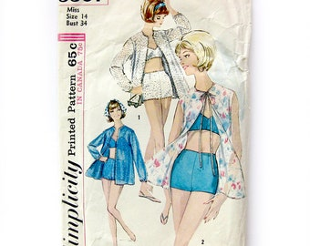 1960s Vintage Sewing Pattern / Simplicity 5507 / Beach Robe and Two Piece SWIMSUIT / Bra Top Boy Shorts  / Size 14