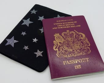Passport cover, Silver star passport holder. Passport wallet. Silver foil stars fabric. Travel wallet.