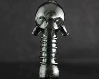 Gas Mask / Glass Spoon Pipe / High Quality Pipe / Fallout / Wasteland / Mad Max / Post Apocalyptic / Pyrex / Charcoal / Ready to Ship #474