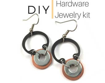 DIY Earring Kit Black and Copper Hardware Jewelry