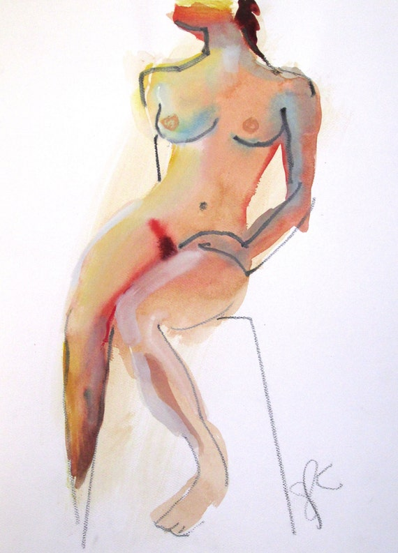 Nude painting- Original watercolor painting of Nude #1369 by Gretchen Kelly
