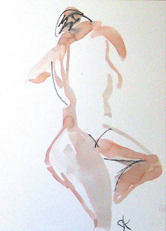 Nude painting of One minute pose 104.3 - Original nude painting by Gretchen Kelly