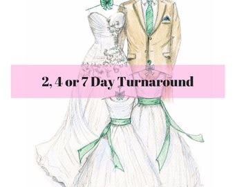 Wedding Dress Sketch, Personalized Wedding Dress Sketch, Customized Wedding Dress Sketch, Custom Wedding Dress Sketch, Fashion Sketch