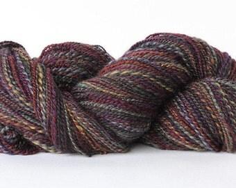 Hand spun Blue-faced Leicester yarn BFL yarn two - ply wool yarn - 355 yards -  Black Hollyhocks
