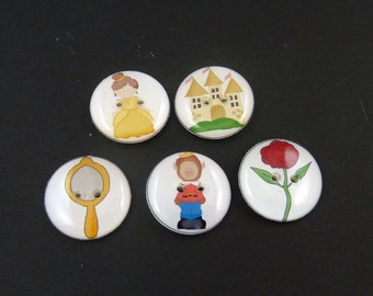 "5 Beauty and the Beast Buttons. Children's Fairy Tale Handmade Buttons. Washer and Dryer Safe  3/4"" or 20 mm."