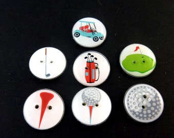 "7 Golf Themed Buttons. 3/4"" or 20 mm.  Golf bag, golf tees, golf ball, Golf Club, Green, Golf Cart."