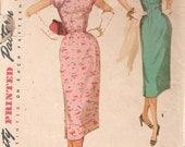1950s Simplicity 1018 Misses Cheongsam Oriental Sheath Dress Pattern Womens Vintage Sewing Pattern Size 14 Bust 32