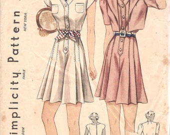 Simplicity 2424 1930s Misses Culottes Keyhole Back Blouse Jacket  Visor Pattern Tennis Sportswear Womens Vintage Sewing  Size 18 Bust 36