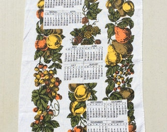 Vintage 1978 Calendar Towel Fab Fruits in Fall Colors