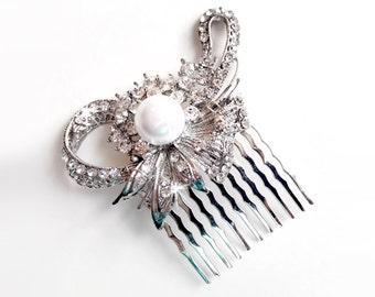 Crystal Flower Hair Comb - Floral Pearl Bridal Comb - Vintage Style Hair Piece - Silver Rhinestone Brooch Comb - Pearl Hairpiece