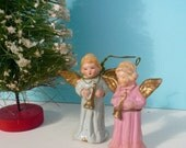 Vintage Angels Set  Miniature Angels Handmade Angels Winged Angels Religious Decor