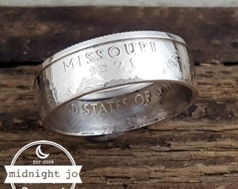 Missouri Coin Ring 90% Silver Quarter Double Sided MR0702-TSSMO