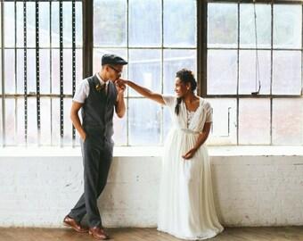 Navi, Open Back Chiffon Wedding Dress, with Alencon Lace, Sweetheart bodice, cap sleeves