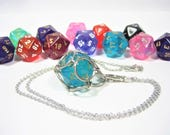 Borealis Swappable D20 Chain Mail Necklace or Key Chain - Choice of Colors - Gifts For Geeks
