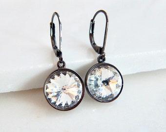 Rivoli Crystal Gunmetal Earrings - Infinity