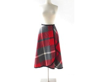 1950s Pendleton Skirt | Red Plaid Skirt | Wrap Skirt | 25W XS