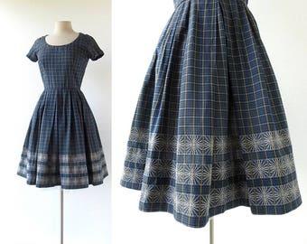 50s Vintage Dress | Barn Dance | Plaid Dress | 1950s Dress | XS