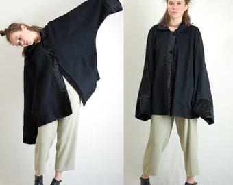 Wool Cocoon Coat Vintage Black Avante Garde Wool Draped Slouchy Cocoon Coat (os)
