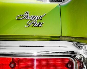 1972 Green Pontiac Grand Prix Back End Car Photography, Automotive, Auto Dealer, Sports Car, Mechanic, Boys Room, Garage, Dealership Art