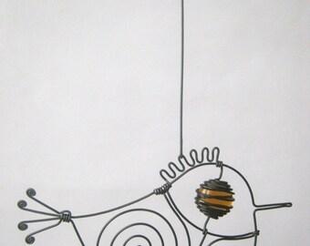 Small Amber Brown - Eyed Wire Bird / Metal Animal Sculpture