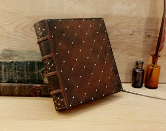Thick Leather Journal, Brown antiqued leather, Gold decoration, Follow Your Dreams