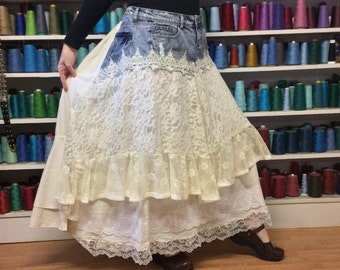 Long Lace Maxi Skirt/Plus Size/White Bustle Skirt with Pockets/Off White/Denim/Upcycled Recycled Repurposed/Adjusts One Size Fit XL,2X,3X,4X