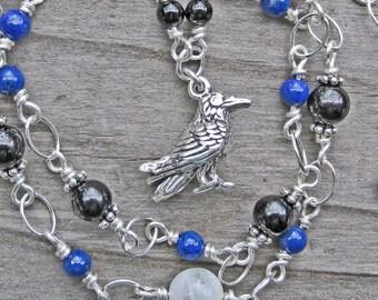 Raven Spirit Animal Totem Necklace, Silver Black Tourmaline Onyx Lapis Moonstone