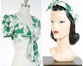 Vintage 1940s Top - Summer 2017 Lookbook - The Kuhala Blouse - Green Cold Rayon Hawaiian Crop Top with Matching Headscarf