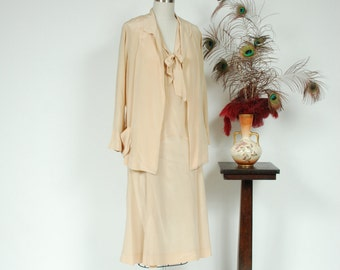 RESERVED ON LAYAWAY Vintage 1920s Dress Set - Rare Matching Cream Silk Flapper Dress Set with Jacket and Neckties Size Large - Train Travel
