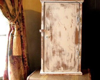 Vintage Hanging Wall Cabinet Distressed Wood | Farmhouse Bathroom or Kitchen Spice Cupboard  | Painted White | Shabby Cottage Chic Shelf
