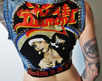 King Diamond Studded Denim Vest