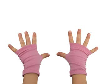 Toddler Arm Warmers in Rose Pink - Fingerless Gloves